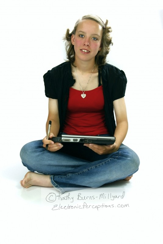 Stock Photo: Girl With Tablet PC - by Kathy Burns-Millyard