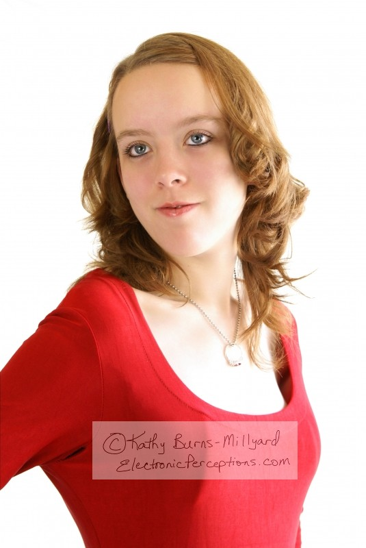 Stock Photo: Pretty Girl In Red - by Kathy Burns-Millyard