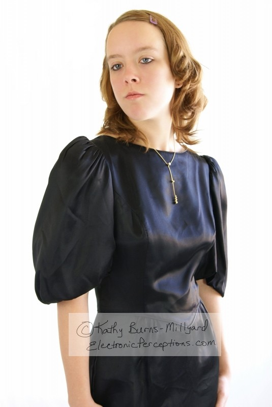 Stock Photo: Black Satin Dress - by Kathy Burns-Millyard