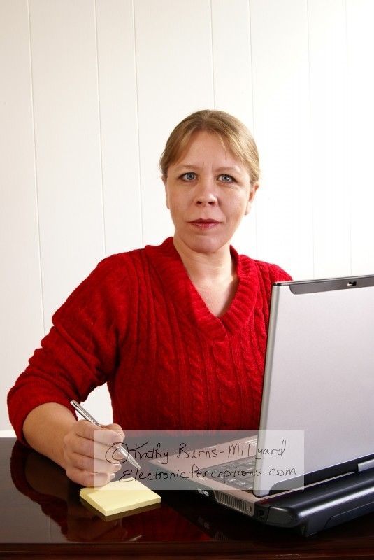 blonde Stock Photo: Woman Working
