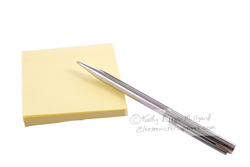 ballpoint Stock Photo: Yellow Notes