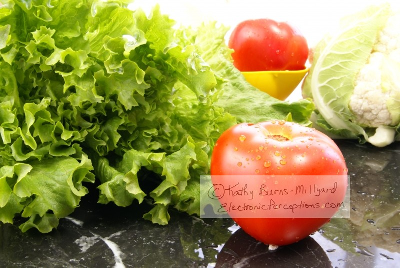 black marble Stock Photo: Lettuce and Tomato