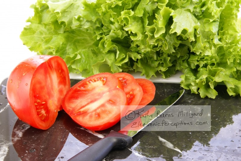 Stock Photo: Lettuce and Tomato Slices - by Kathy Burns-Millyard