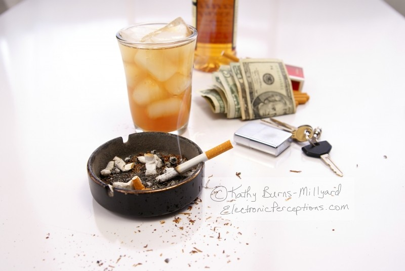 addiction Stock Photo: Alcohol and Tobacco