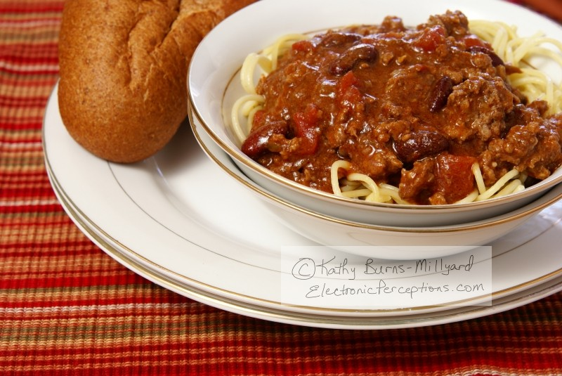 western Stock Photo: Chili and Spaghetti