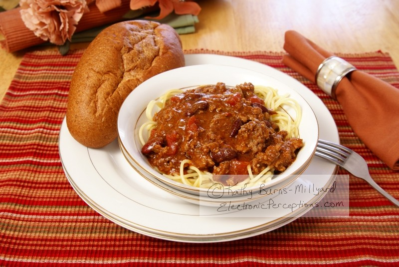 bean Stock Photo: Chili and Spaghetti