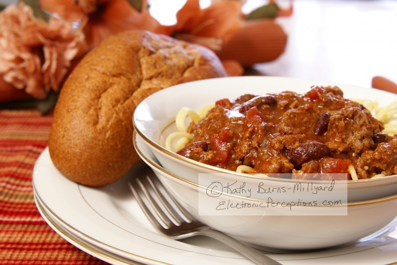 Stock Photo: Chili and Spaghetti - by Kathy Burns-Millyard