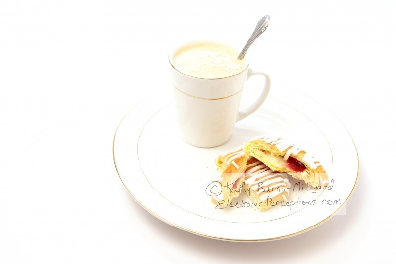 Stock Photo: Danish and cappuccino - by Kathy Burns-Millyard