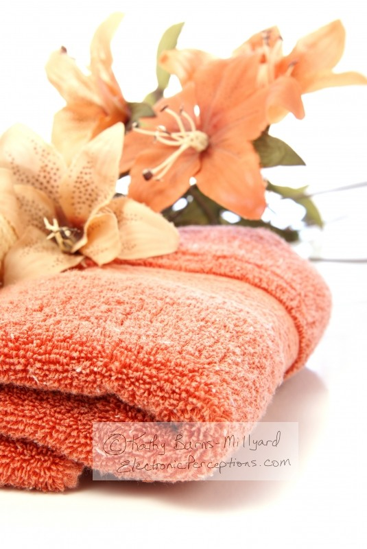 flower Stock Photo: Towel and Flowers