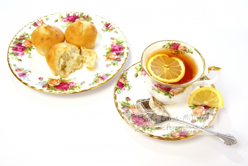 delicate Stock Photo: Tea and Muffins Overhead