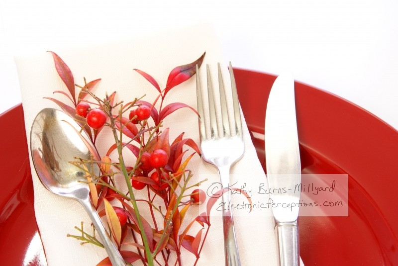 Stock Photo: Red Table Setting - by Kathy Burns-Millyard