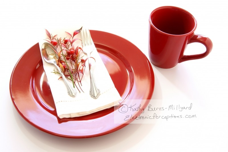 decorate Stock Photo: Red Table Setting