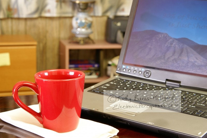 corner Stock Photo: Laptop and Coffee