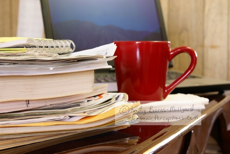 drink Stock Photo: Busy Home Office