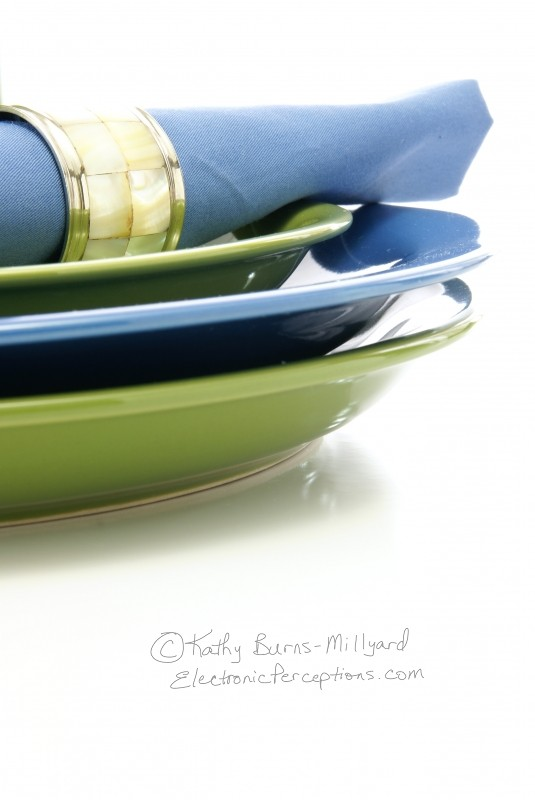 decorate Stock Photo: Green and Blue Tableware
