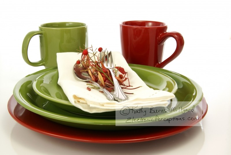 elegant Stock Photo: Green and Red Tableware