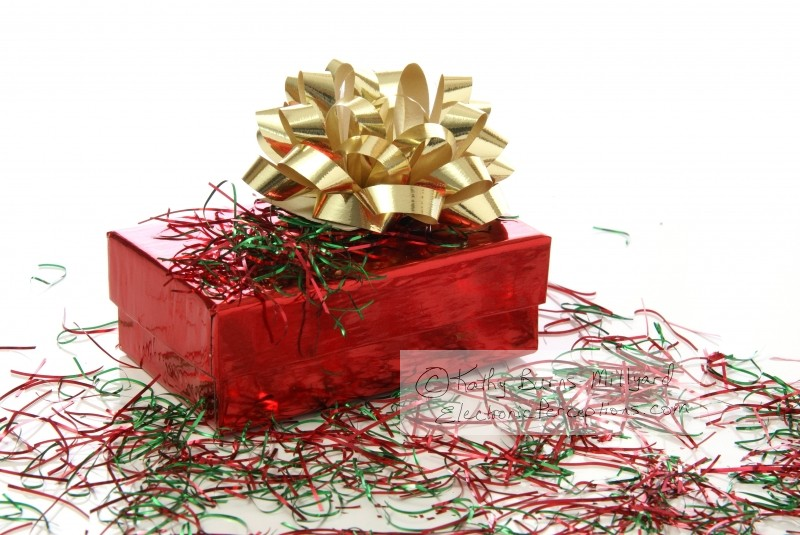 Stock Photo: Christmas Gift Box with Bow - by Kathy Burns-Millyard