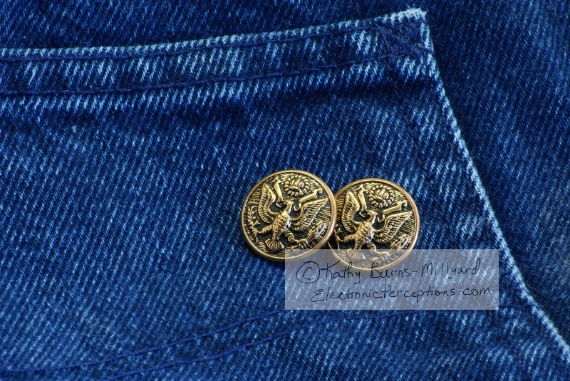 crafts Stock Photo: Buttons on Denim