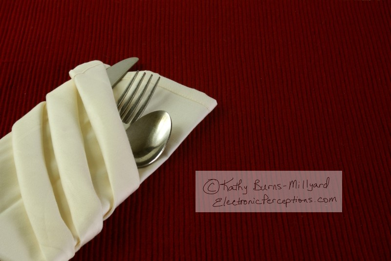 fabric Stock Photo: Silverware in Napkin