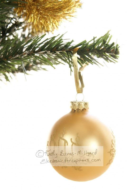 Stock Photo: Gold Christmas Ornament - by Kathy Burns-Millyard