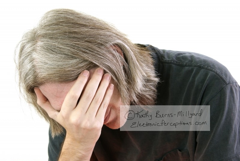 caucasian Stock Photo: Man Covering Face