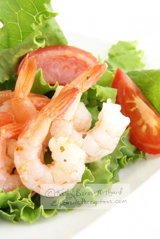 healthy Stock Photo: Shrimp Salad Vertical