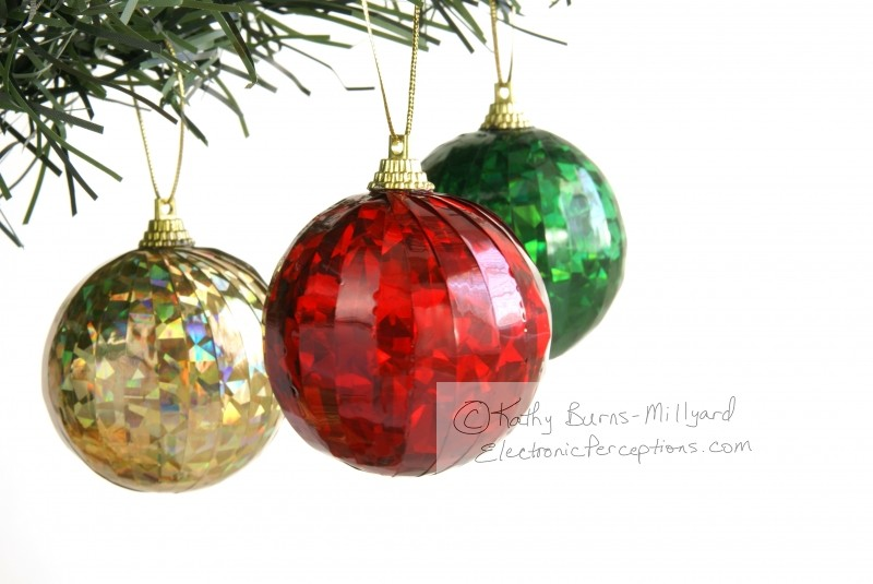 Stock Photo: Three Christmas Balls - by Kathy Burns-Millyard