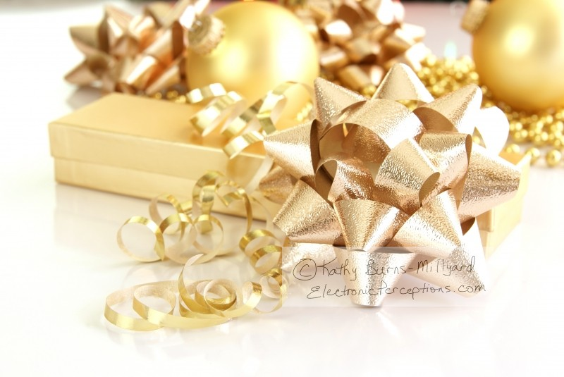 Stock Photo: Gold Decorations - by Kathy Burns-Millyard