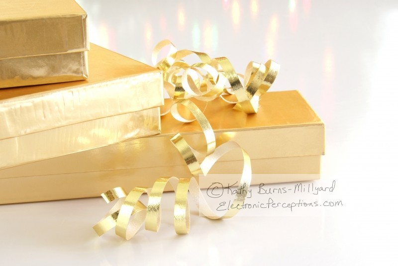 Stock Photo: Gold Gifts - by Kathy Burns-Millyard