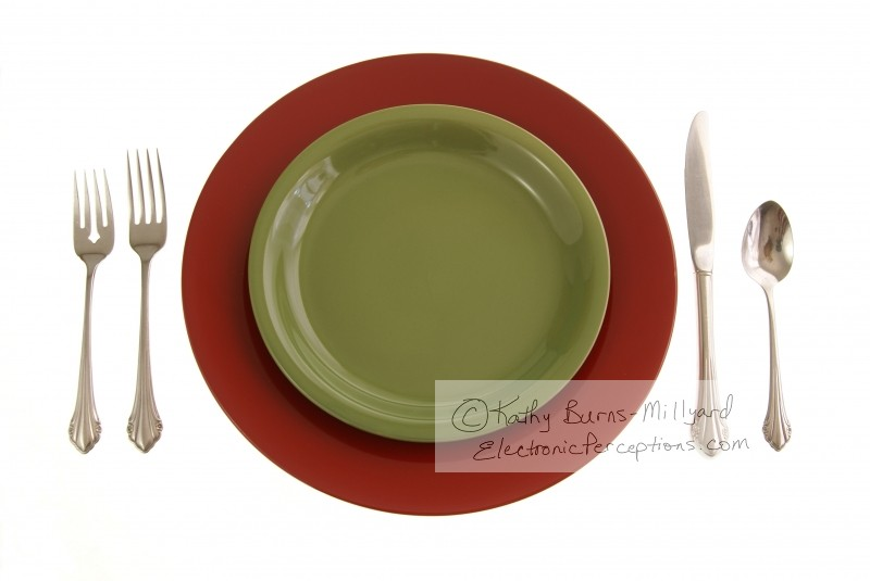 Stock Photo: Red and Green Table Setting - by Kathy Burns-Millyard