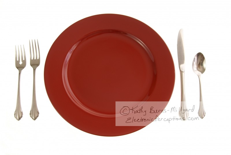 silverware Stock Photo: Red Table Setting