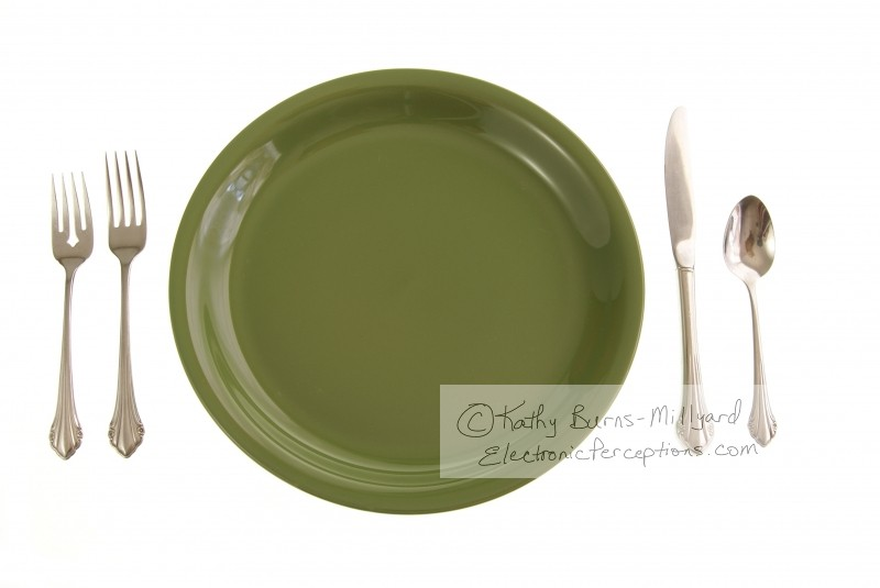 Stock Photo: Green Place Setting - by Kathy Burns-Millyard