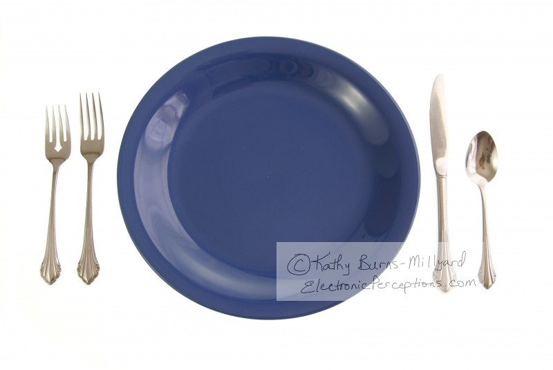 Stock Photo: Blue Place Setting - by Kathy Burns-Millyard