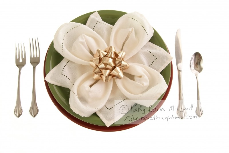 silverware Stock Photo: Table Setting With Bow