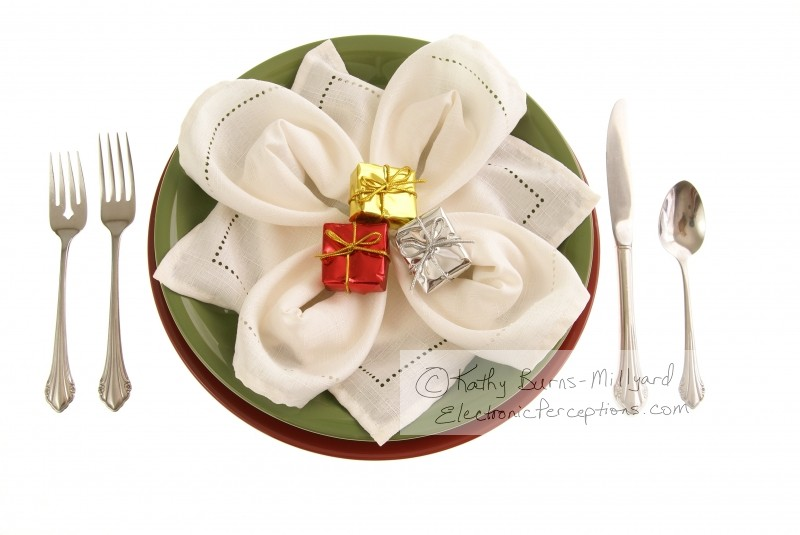 silverware Stock Photo: Holiday Table Decor