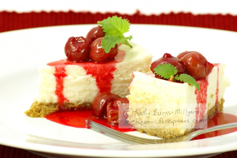 Stock Photo: Cherry Cheesecake - by Kathy Burns-Millyard