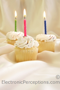 candle Stock Photo: Birthday Cupcakes
