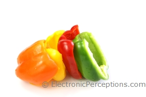 Stock Photo: Bell Peppers Lineup - by Kathy Burns-Millyard