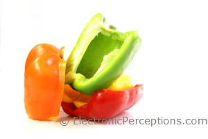 bell pepper Stock Photo: Stacked Peppers