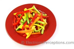 Stock Photo: Tossed Bell Peppers - by Kathy Burns-Millyard
