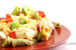 bell pepper Stock Photo: Chicken Pasta Salad