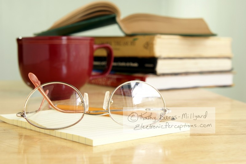 Still Life Stock Photo: Eyeglasses On Notepad