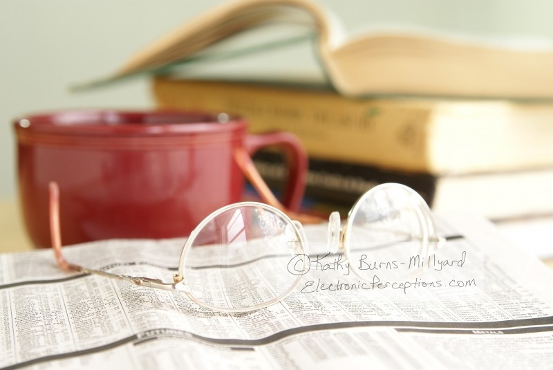 books Stock Photo: Glasses and Newspaper