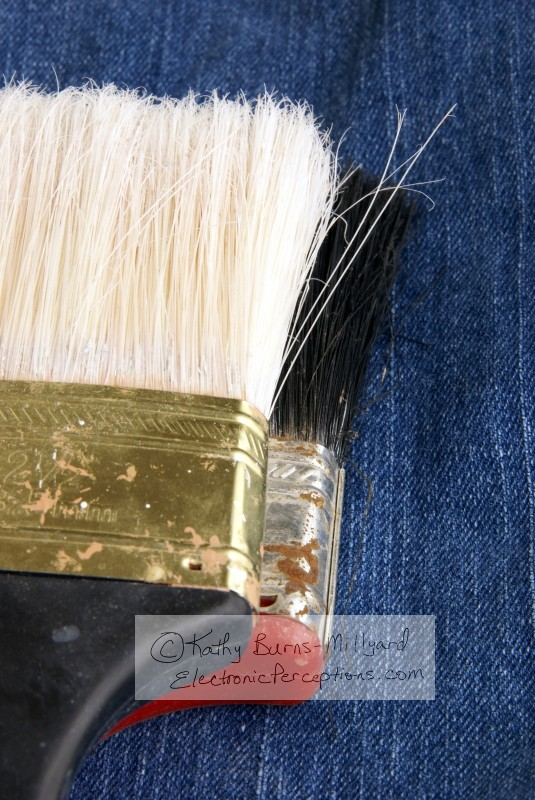 denim Stock Photo: Two Paintbrush Heads