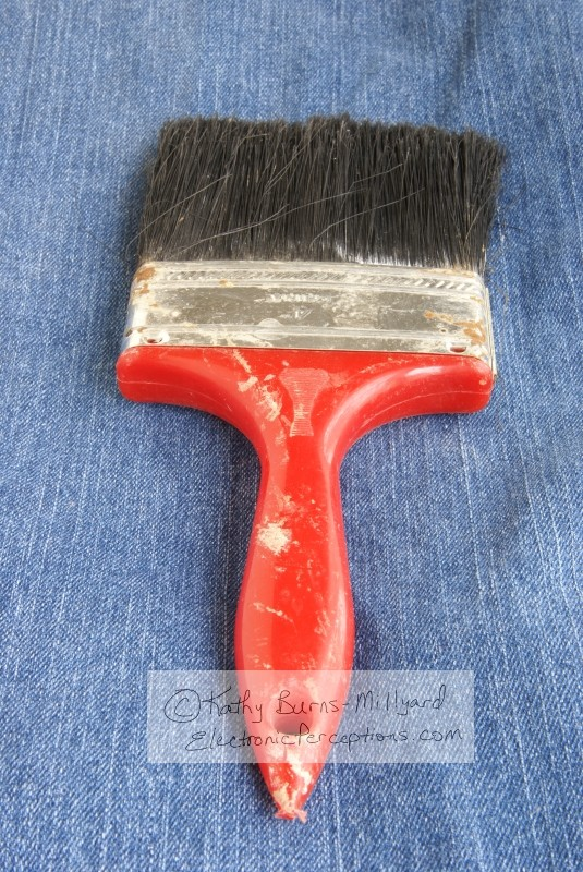 Stock Photo: Old Red Paintbrush - by Kathy Burns-Millyard
