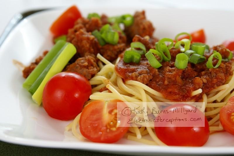 """green onions"" Stock Photo: Spaghetti"