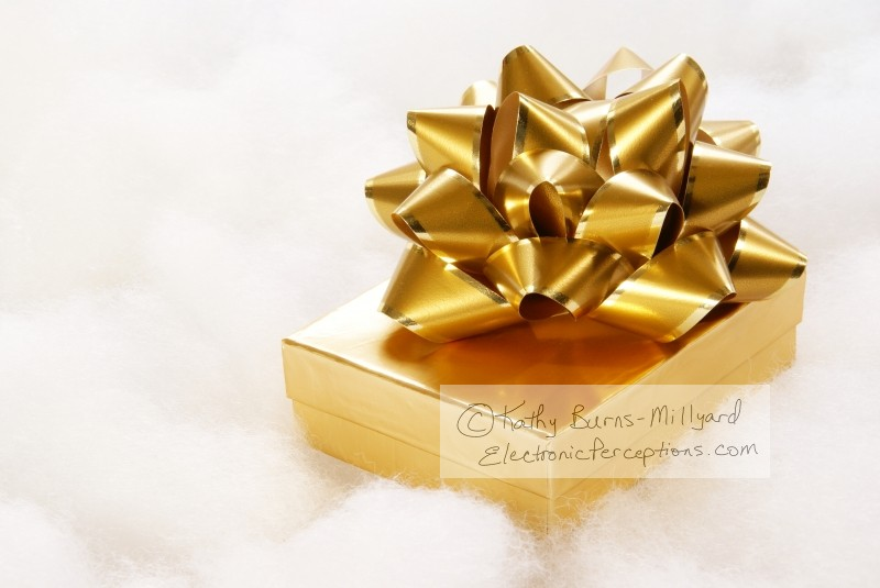 xmas Stock Photo: Golden Gift
