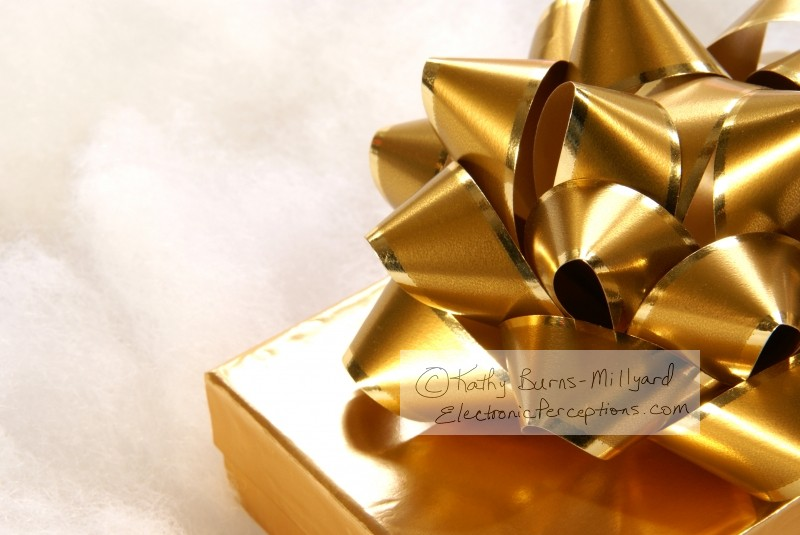 xmas Stock Photo: Golden Bow