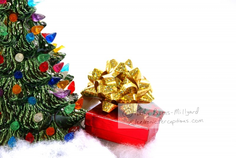 bow Stock Photo: Christmas Gifts and Ceramic Tree