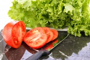 Stock Photo Thumbnail: Lettuce and Tomato Slices